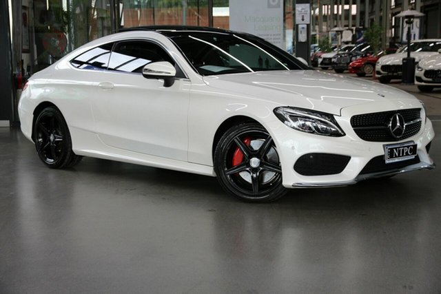 Used Mercedes-Benz C-Class C205 807+057MY C200 9G-Tronic North Melbourne, 2016 Mercedes-Benz C-Class C205 807+057MY C200 9G-Tronic White 9 Speed Sports Automatic Coupe