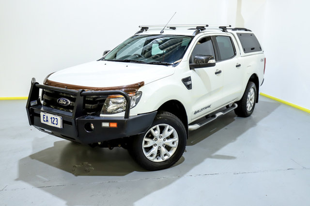 Used Ford Ranger PX Wildtrak Double Cab Canning Vale, 2013 Ford Ranger PX Wildtrak Double Cab White 6 Speed Sports Automatic Utility