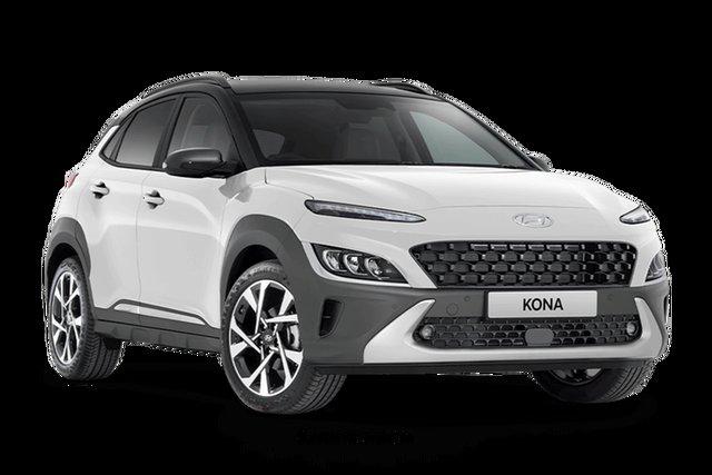 New Hyundai Kona Os.v4 MY21 Highlander 2WD Hamilton, 2021 Hyundai Kona Os.v4 MY21 Highlander 2WD Atlas White / Phantom Black Ro 8 Speed Constant Variable