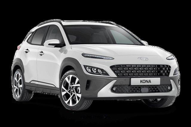 New Hyundai Kona Os.v4 MY21 Highlander 2WD Hamilton, 2021 Hyundai Kona Os.v4 MY21 Highlander 2WD Atlas White 8 Speed Constant Variable Wagon