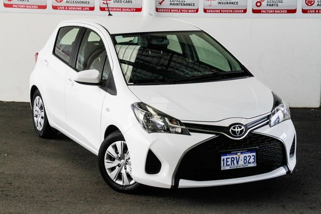 Pre-Owned Toyota Yaris NCP130R MY15 Ascent Rockingham, 2015 Toyota Yaris NCP130R MY15 Ascent Glacier White 5 Speed Manual Hatchback
