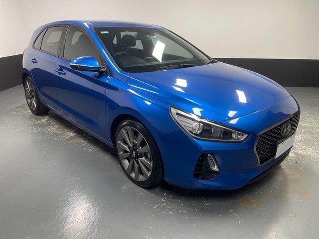 Used Hyundai i30 PD MY18 SR D-CT Cardiff, 2017 Hyundai i30 PD MY18 SR D-CT Blue 7 Speed Sports Automatic Dual Clutch Hatchback