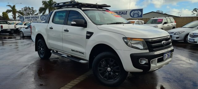 Used Ford Ranger PX Wildtrak Double Cab East Bunbury, 2014 Ford Ranger PX Wildtrak Double Cab White 6 Speed Sports Automatic Utility
