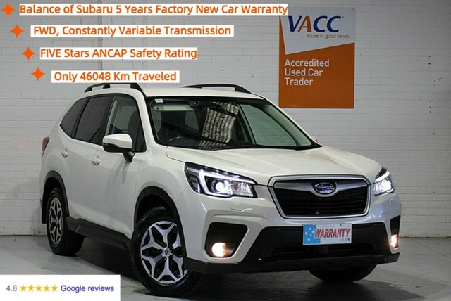 Used Subaru Forester S5 MY19 2.5i CVT AWD Moorabbin, 2019 Subaru Forester S5 MY19 2.5i CVT AWD White 7 Speed Constant Variable Wagon