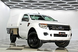 2013 Ford Ranger PX XL 2.2 Hi-Rider (4x2) White 6 Speed Manual Cab Chassis.