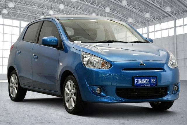 Used Mitsubishi Mirage LA MY15 LS Victoria Park, 2014 Mitsubishi Mirage LA MY15 LS Blue 1 Speed Constant Variable Hatchback