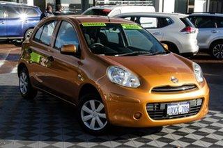 2012 Nissan Micra K13 ST Orange 4 Speed Automatic Hatchback.