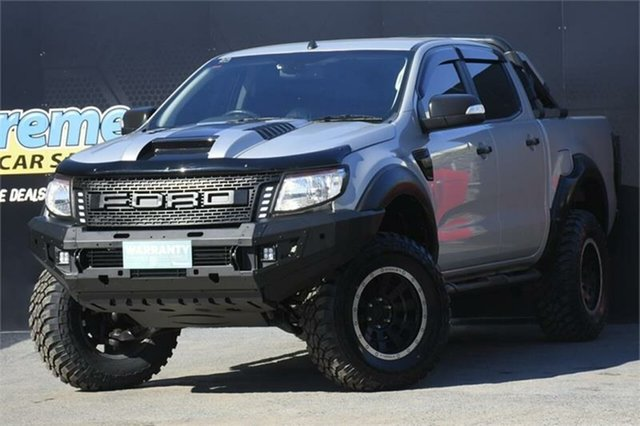 Used Ford Ranger PX XLT Double Cab 4x2 Hi-Rider Campbelltown, 2012 Ford Ranger PX XLT Double Cab 4x2 Hi-Rider Silver 6 Speed Sports Automatic Utility
