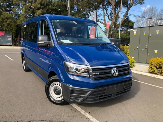 New Volkswagen Crafter SY1 MY21 Minibus MWB 4MOTION TDI410 Botany, 2021 Volkswagen Crafter SY1 MY21 Minibus MWB 4MOTION TDI410 Blue 8 Speed Automatic Bus