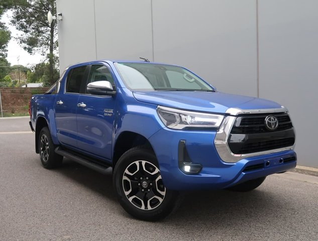 Used Toyota Hilux GUN126R SR5 Double Cab Reynella, 2021 Toyota Hilux GUN126R SR5 Double Cab Blue 6 Speed Sports Automatic Cab Chassis