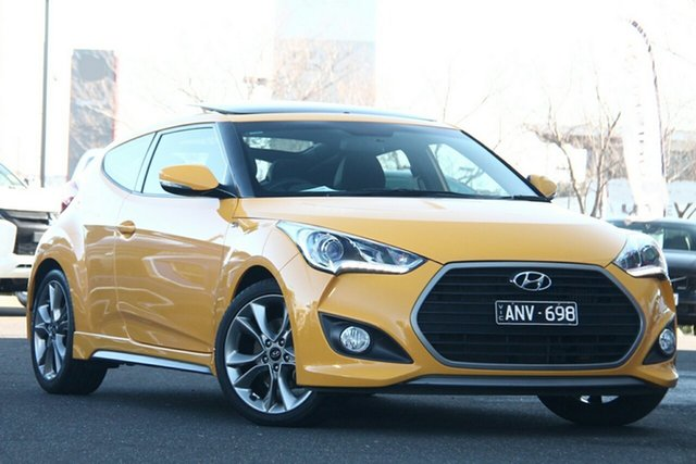 Used Hyundai Veloster FS5 Series II SR Coupe D-CT Turbo Essendon North, 2017 Hyundai Veloster FS5 Series II SR Coupe D-CT Turbo Yellow 7 Speed Sports Automatic Dual Clutch
