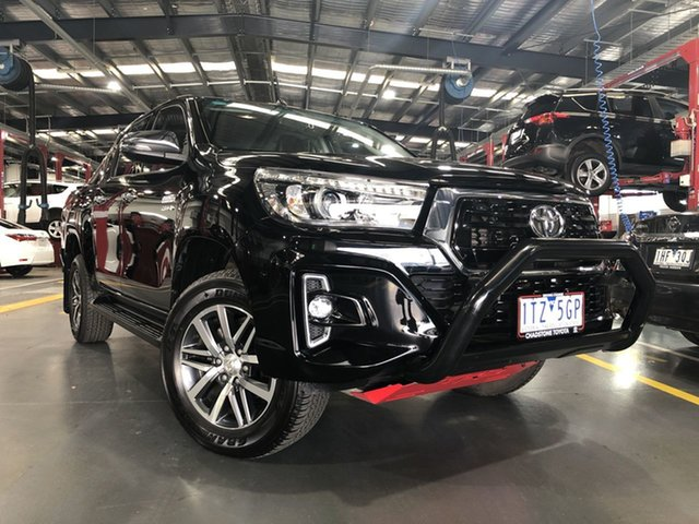Pre-Owned Toyota Hilux GUN126R SR5 Double Cab Oakleigh, 2018 Toyota Hilux GUN126R SR5 Double Cab Eclipse Black 6 Speed Sports Automatic Utility