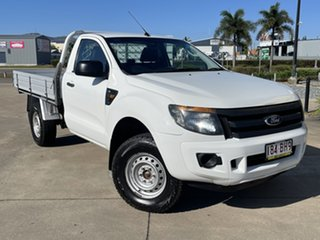 2014 Ford Ranger PX XL White/280514 6 Speed Manual Cab Chassis.