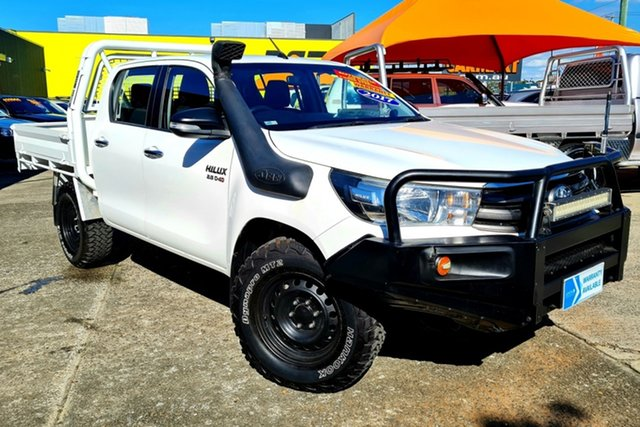 Used Toyota Hilux GUN126R SR Double Cab Morayfield, 2017 Toyota Hilux GUN126R SR Double Cab White 6 Speed Sports Automatic Cab Chassis
