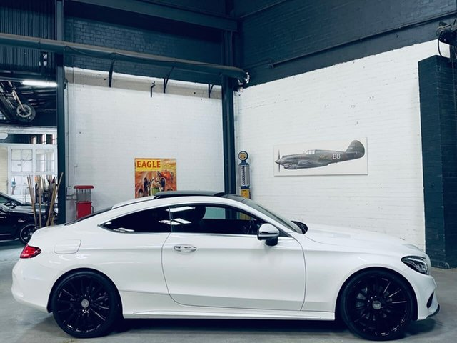 Used Mercedes-Benz C-Class C205 C300 7G-Tronic + Port Melbourne, 2016 Mercedes-Benz C-Class C205 C300 7G-Tronic + White 7 Speed Sports Automatic Coupe