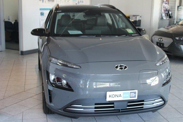 New Hyundai Kona Os.v4 MY21 electric Highlander North Gosford, 2021 Hyundai Kona Os.v4 MY21 electric Highlander Galactic Grey + Black Roo 1 Speed Reduction Gear