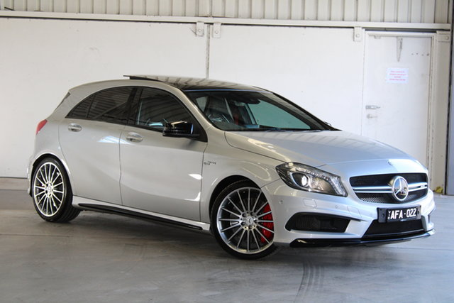 Used Mercedes-Benz A-Class W176 806MY A45 AMG SPEEDSHIFT DCT 4MATIC Laverton North, 2015 Mercedes-Benz A-Class W176 806MY A45 AMG SPEEDSHIFT DCT 4MATIC Silver 7 Speed