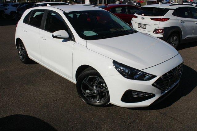 New Hyundai i30 PD.V4 MY21 North Gosford, 2021 Hyundai i30 PD.V4 MY21 Polar White 6 Speed Sports Automatic Hatchback