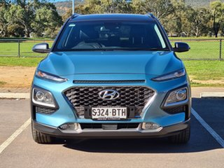 2017 Hyundai Kona OS MY18 Elite D-CT AWD Blue 7 Speed Sports Automatic Dual Clutch Wagon.