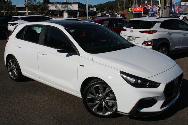 New Hyundai i30 PD.V4 MY21 N Line D-CT Premium North Gosford, 2021 Hyundai i30 PD.V4 MY21 N Line D-CT Premium Polar White 7 Speed Sports Automatic Dual Clutch