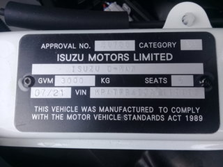 2020 Isuzu D-MAX MY19 SX 4x2 High Ride Mineral White 6 Speed Sports Automatic Cab Chassis