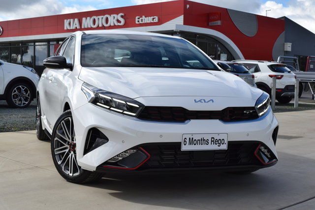 Used Kia Cerato BD MY22 GT DCT Echuca, 2021 Kia Cerato BD MY22 GT DCT Clear White 7 Speed Sports Automatic Dual Clutch Hatchback