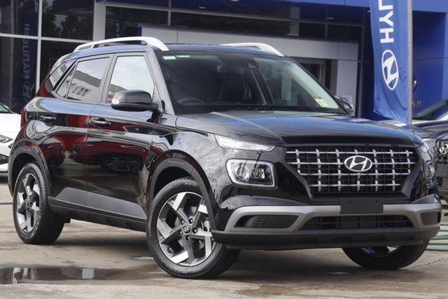 New Hyundai Venue QX.V3 MY21 Elite Moorooka, 2021 Hyundai Venue QX.V3 MY21 Elite Phantom Black 6 Speed Automatic Wagon