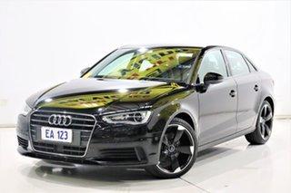 2016 Audi A3 8V MY16 1.4 TFSI Attraction CoD Black 7 Speed Auto Direct Shift Sedan.