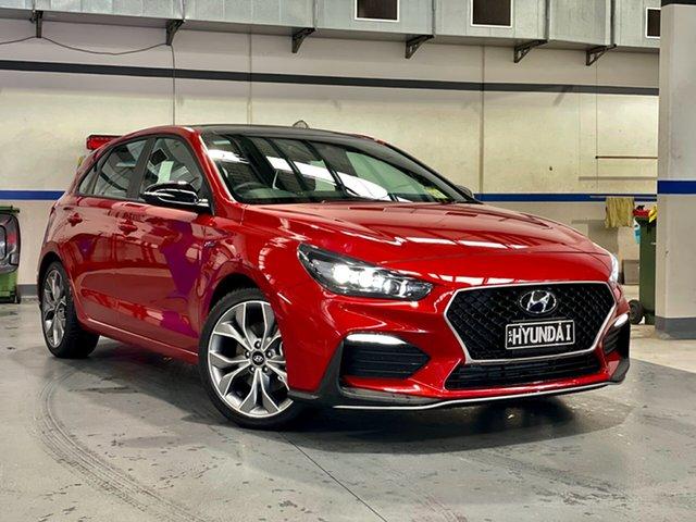 Demo Hyundai i30 PD.V4 MY21 N Line Premium Reynella, 2021 Hyundai i30 PD.V4 MY21 N Line Premium Lava Orange 7 Speed Auto Dual Clutch Hatchback