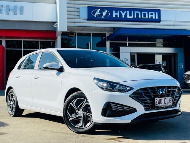 Demo Hyundai i30 PD.V4 MY21 Beaudesert, 2021 Hyundai i30 PD.V4 MY21 Polar White 6 Speed Sports Automatic Hatchback