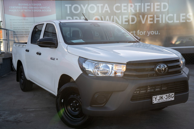 Pre-Owned Toyota Hilux TGN121R Workmate Double Cab 4x2 Guildford, 2019 Toyota Hilux TGN121R Workmate Double Cab 4x2 Glacier White 6 Speed Sports Automatic Utility