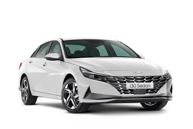 New Hyundai i30 CN7.V1 MY21 N Line D-CT Geelong, 2021 Hyundai i30 CN7.V1 MY21 N Line D-CT Polar White 7 Speed Automatic Sedan
