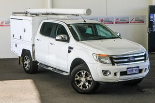2013 Ford Ranger PX XLT 3.2 (4x4) White 6 Speed Automatic Double Cab Pick Up.