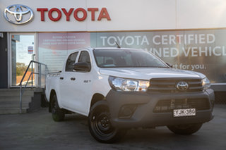 2019 Toyota Hilux TGN121R Workmate Double Cab 4x2 Glacier White 6 Speed Sports Automatic Utility.