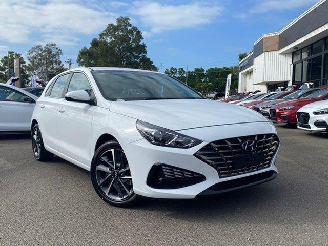 Demo Hyundai i30 PD.V4 MY21 Elite Penrith, 2020 Hyundai i30 PD.V4 MY21 Elite Polar White 6 Speed Sports Automatic Hatchback