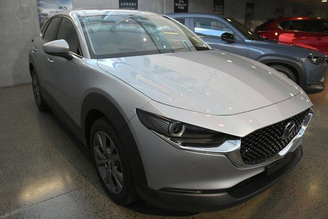 New Mazda CX-30 DM4WLA G25 SKYACTIV-Drive i-ACTIV AWD Astina Kirrawee, 2021 Mazda CX-30 DM4WLA G25 SKYACTIV-Drive i-ACTIV AWD Astina Sonic Silver 6 Speed Sports Automatic