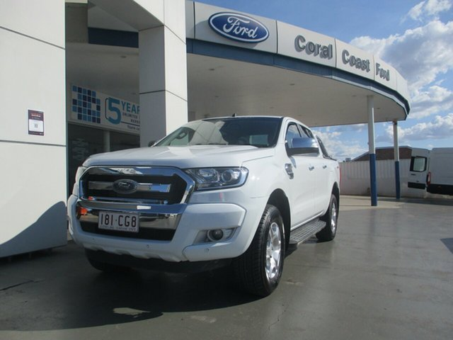 Used Ford Ranger PX MkII MY17 Update XLT 3.2 Hi-Rider (4x2) Bundaberg, 2017 Ford Ranger PX MkII MY17 Update XLT 3.2 Hi-Rider (4x2) White 6 Speed Automatic Crew Cab Pickup