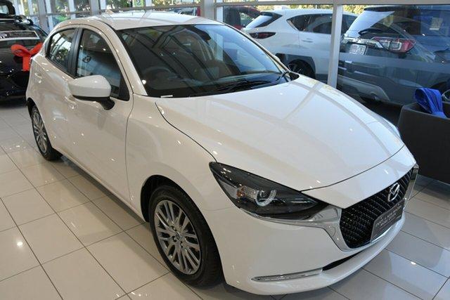 New Mazda 2 DJ2HAA G15 SKYACTIV-Drive Evolve Wollongong, 2021 Mazda 2 DJ2HAA G15 SKYACTIV-Drive Evolve Snowflake White Pearl 6 Speed Sports Automatic