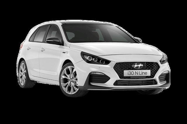 Demo Hyundai i30 N Line Premium Rutherford, 2021 Hyundai i30 PD.V4 N Line Premium Polar White 7 Speed Automatic Hatchback