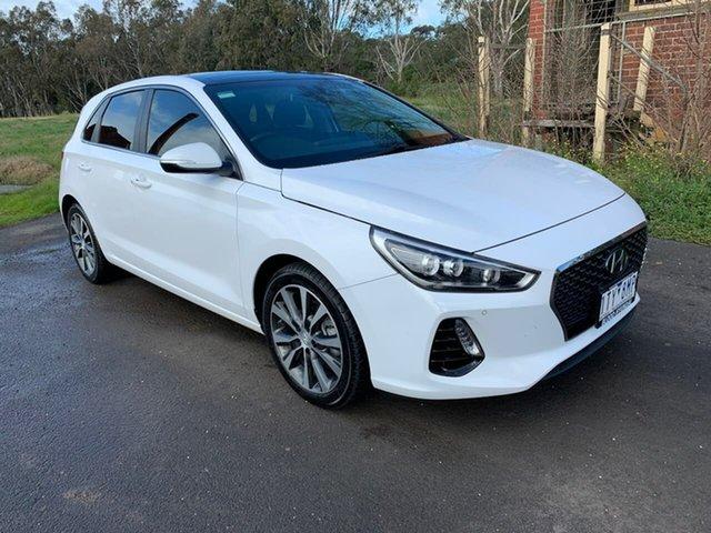 Used Hyundai i30 PD Premium Geelong, 2017 Hyundai i30 PD Premium White Sports Automatic Dual Clutch Hatchback