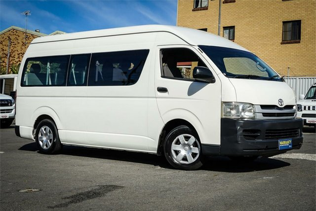 Used Toyota HiAce TRH223R MY08 Commuter High Roof Super LWB Moorooka, 2008 Toyota HiAce TRH223R MY08 Commuter High Roof Super LWB White 4 Speed Automatic Bus