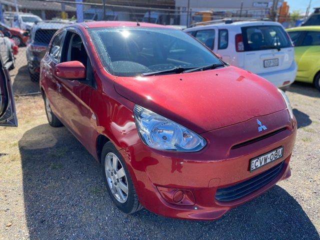 Used Mitsubishi Mirage LA MY14 ES Wickham, 2013 Mitsubishi Mirage LA MY14 ES Red 5 Speed Manual Hatchback