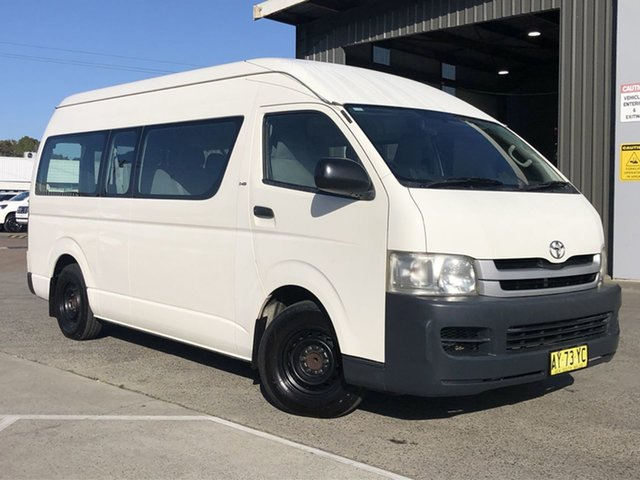 Used Toyota HiAce KDH223R MY08 Commuter High Roof Super LWB Cardiff, 2008 Toyota HiAce KDH223R MY08 Commuter High Roof Super LWB White 5 Speed Manual Bus