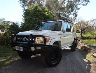 2019 Toyota Landcruiser VDJ79R GXL Double Cab White 5 Speed Manual Cab Chassis.