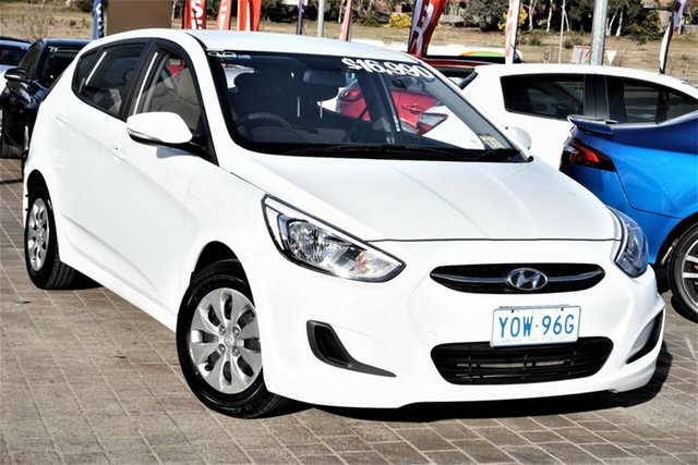 Used Hyundai Accent RB3 MY16 Active Phillip, 2016 Hyundai Accent RB3 MY16 Active White 6 Speed Constant Variable Hatchback