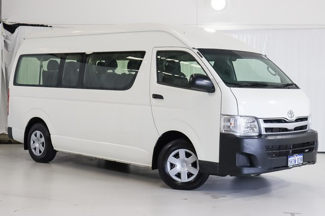 Used Toyota HiAce KDH223R MY12 Commuter High Roof Super LWB Wangara, 2013 Toyota HiAce KDH223R MY12 Commuter High Roof Super LWB White 5 Speed Manual Bus