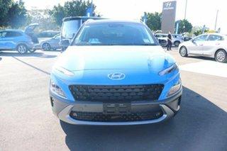 2021 Hyundai Kona Os.v4 MY21 Highlander 2WD Surfy Blue Black Roof 8 Speed Constant Variable Wagon.