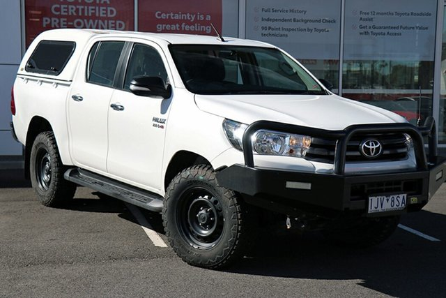 Pre-Owned Toyota Hilux GUN126R SR Double Cab South Morang, 2016 Toyota Hilux GUN126R SR Double Cab White 6 Speed Sports Automatic Utility