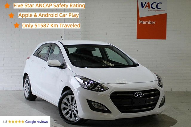 Used Hyundai i30 GD4 Series II MY17 Active Moorabbin, 2016 Hyundai i30 GD4 Series II MY17 Active White 6 Speed Sports Automatic Hatchback