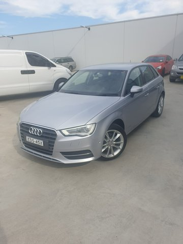 Used Audi A3 8V Attraction Sportback S Tronic Liverpool, 2014 Audi A3 8V Attraction Sportback S Tronic Silver, Chrome 7 Speed Sports Automatic Dual Clutch